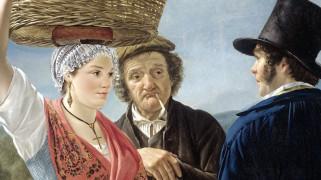 'Marktnieuws' door Jean Henri de Coene (1827), via Rijksmuseum.