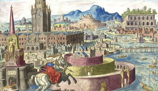Cutout from: Muren van Babylon, Philips Galle, Hadrianus Junius, 1572 (public domain, Rijksmuseum collection)