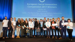 Equality Rebooted winners Buildx, Feelif and Saga, Impact Prize Winner The Bike Project, and 2017 finalists on stage with Lowri Evans, European Commission Director General for Internal Market, Industry, Entrepreneurship and SMEs.