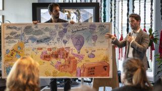 Radboud Dam presenteert zijn visie op een leven lang leren aan de hand van een tekening
