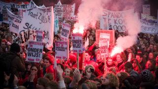 Studentendemonstratie tegen de geplande forse bezuinigingen op het hoger onderwijs in 2011.